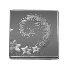 Gray Abstract Flowers Memory Card Reader With Storage (square)