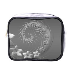 Gray Abstract Flowers Mini Travel Toiletry Bag (One Side)