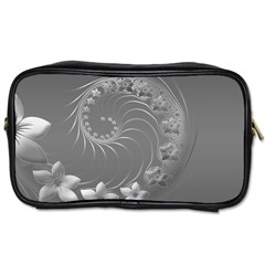 Gray Abstract Flowers Travel Toiletry Bag (one Side)
