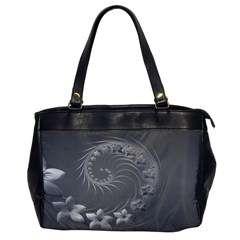 Gray Abstract Flowers Oversize Office Handbag (One Side)