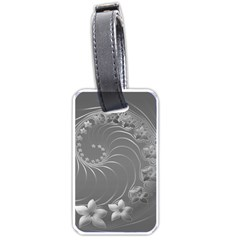 Gray Abstract Flowers Luggage Tag (two Sides)