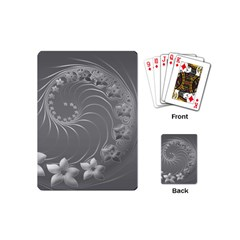 Gray Abstract Flowers Playing Cards (Mini)