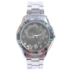 Gray Abstract Flowers Stainless Steel Watch (Men s)