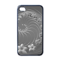 Gray Abstract Flowers Apple iPhone 4 Case (Black)