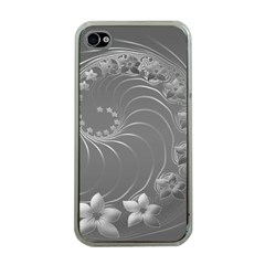 Gray Abstract Flowers Apple Iphone 4 Case (clear)