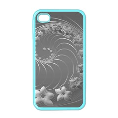 Gray Abstract Flowers Apple iPhone 4 Case (Color)