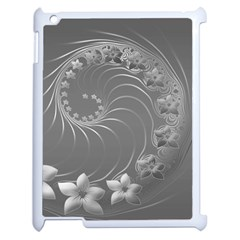 Gray Abstract Flowers Apple iPad 2 Case (White)