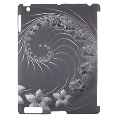 Gray Abstract Flowers Apple iPad 2 Hardshell Case (Compatible with Smart Cover)