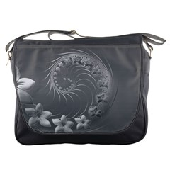 Gray Abstract Flowers Messenger Bag