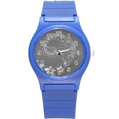 Gray Abstract Flowers Plastic Sport Watch (Small)