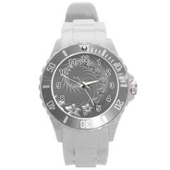 Gray Abstract Flowers Plastic Sport Watch (large)