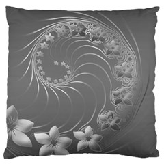 Gray Abstract Flowers Large Cushion Case (One Side)