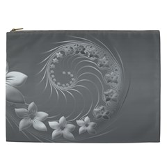 Gray Abstract Flowers Cosmetic Bag (xxl)