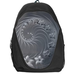 Gray Abstract Flowers Backpack Bag