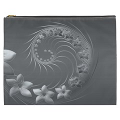Gray Abstract Flowers Cosmetic Bag (XXXL)