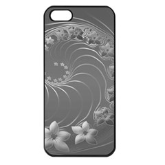 Gray Abstract Flowers Apple iPhone 5 Seamless Case (Black)