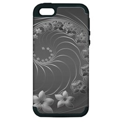 Gray Abstract Flowers Apple iPhone 5 Hardshell Case (PC+Silicone)