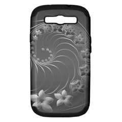 Gray Abstract Flowers Samsung Galaxy S III Hardshell Case (PC+Silicone)