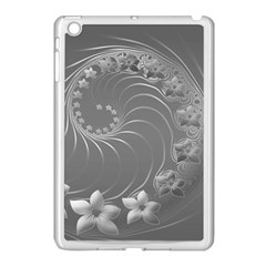 Gray Abstract Flowers Apple iPad Mini Case (White)