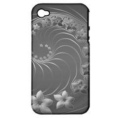 Gray Abstract Flowers Apple iPhone 4/4S Hardshell Case (PC+Silicone)