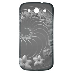 Gray Abstract Flowers Samsung Galaxy S3 S III Classic Hardshell Back Case