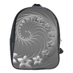 Gray Abstract Flowers School Bag (XL) Front