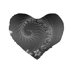 Gray Abstract Flowers 16  Premium Heart Shape Cushion