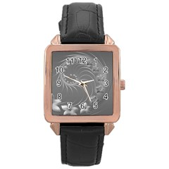 Gray Abstract Flowers Rose Gold Leather Watch