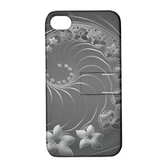 Gray Abstract Flowers Apple iPhone 4/4S Hardshell Case with Stand