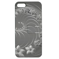 Gray Abstract Flowers Apple iPhone 5 Hardshell Case with Stand