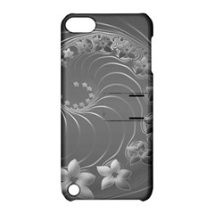 Gray Abstract Flowers Apple iPod Touch 5 Hardshell Case with Stand