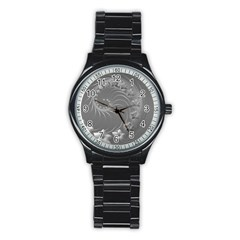 Gray Abstract Flowers Sport Metal Watch (Black)