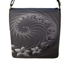 Gray Abstract Flowers Flap Closure Messenger Bag (Large)