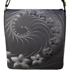 Gray Abstract Flowers Flap Closure Messenger Bag (small)
