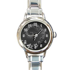 Dark Gray Abstract Flowers Round Italian Charm Watch