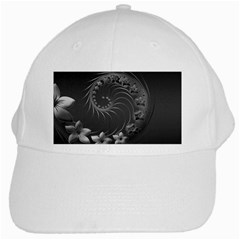 Dark Gray Abstract Flowers White Baseball Cap