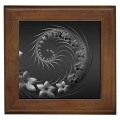 Dark Gray Abstract Flowers Framed Ceramic Tile