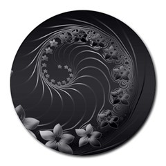 Dark Gray Abstract Flowers 8  Mouse Pad (round)
