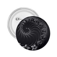 Dark Gray Abstract Flowers 2.25  Button