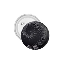 Dark Gray Abstract Flowers 1.75  Button