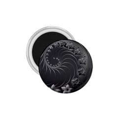 Dark Gray Abstract Flowers 1.75  Button Magnet