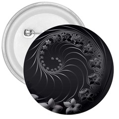 Dark Gray Abstract Flowers 3  Button