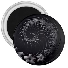 Dark Gray Abstract Flowers 3  Button Magnet