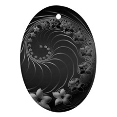 Dark Gray Abstract Flowers Oval Ornament