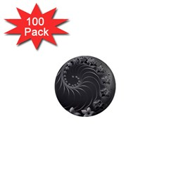 Dark Gray Abstract Flowers 1  Mini Button Magnet (100 pack)