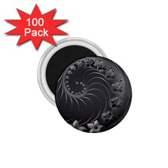 Dark Gray Abstract Flowers 1.75  Button Magnet (100 pack)
