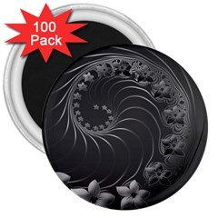 Dark Gray Abstract Flowers 3  Button Magnet (100 pack)