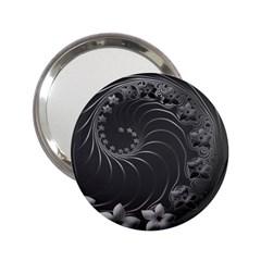 Dark Gray Abstract Flowers Handbag Mirror (2.25 )