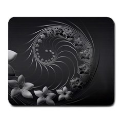 Dark Gray Abstract Flowers Large Mouse Pad (rectangle)