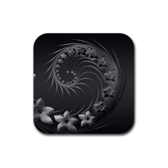 Dark Gray Abstract Flowers Drink Coaster (square)